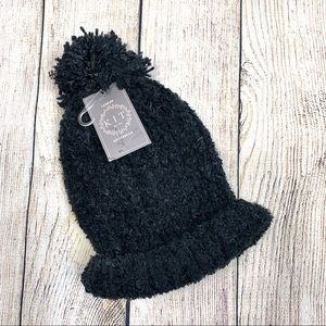 5/$25 K.I.T. By EG Black Knit Beanie with Pom Pom